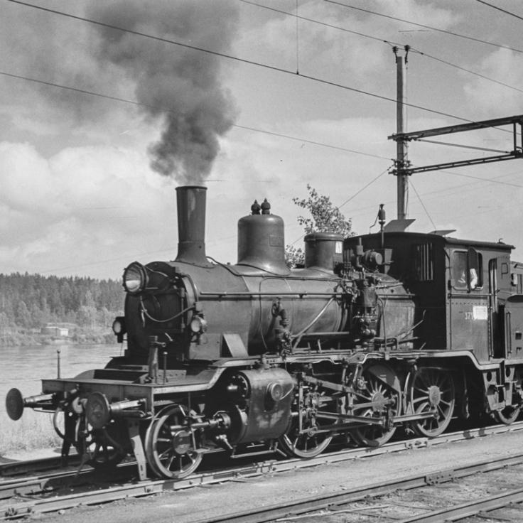 Class 21c no.371 at Kongsvinger in 1961. (Norsk Jernbanemuseum)