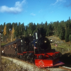 No.252 hauling a Norwegian Railway Association special on the Kronderen line in 1970. (Norsk Jernbanemuseum)