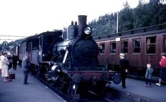 21e No.203 at Nelaug station - 1960. Type 21a No.202 on narrow gauge accommodation bogies. (Norsk Jernbanemuseum)