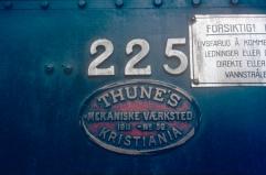 Worksplate from locomotive No.225 (21e). (Norsk Jernbanemuseum)