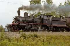 No.252 works a heritage train on the Grundset line during 1977. (Akershusbasen)